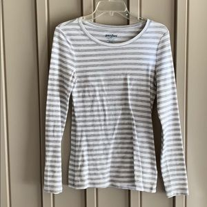 Old Navy Gray & White Striped Shirt